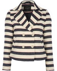 Jane Norman - Striped Long Sleeve Textured Jacket - Lyst