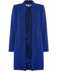 Tahari - Blue Funnel Neck Topper Coat - Lyst