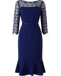 Jacques Vert Lace Yoke Ponte Dress - Blue