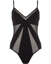 Kenneth Cole Sheer Satisfaction Mesh Cut Out Swimsuit - Black