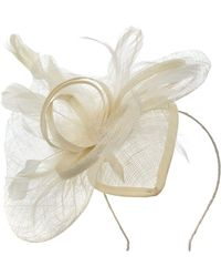 Suzanne Bettley Feather Teardrop Fascinator - White