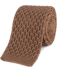 Gibson - Camel Honeycomb Textured Knitted Tie - Lyst