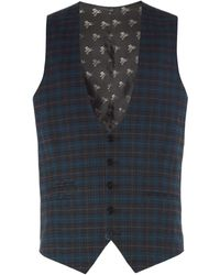 Label Lab Axl Flannel Check Skinny Suit Waistcoat - Blue