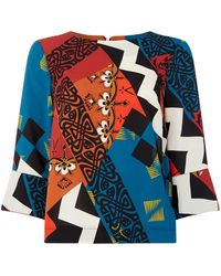 Biba Contrast Cuff Printed Shell Top - Multicolour