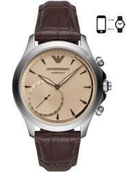 Emporio Armani - Leather Strap Hybrid Smartwatch - Lyst