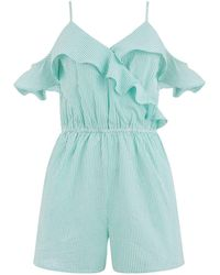 Oasis Ticking Stripe Playsuit - Blue