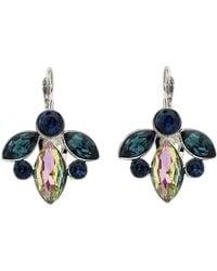 Monet - Peacock Crystal Leverback Earrings - Lyst