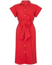 Yumi' Utility Shirt Dress With Pockets - Red