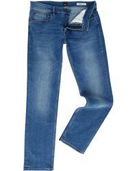BOSS - Men's Orange 63 Helsinki-p Slim Fit Mid Wash Jeans - Lyst
