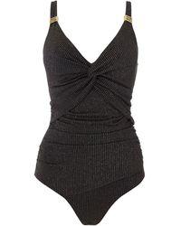 Biba Metallic Stripe Icon Swimsuit - Black