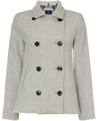 GANT - Button Up Wool Pea Coat - Lyst