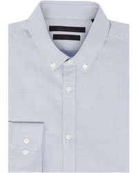 Kenneth Cole Johan Button Down Textured Shirt - Blue