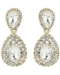 Mikey - Oval Crystal Edged Embded Earring - Lyst