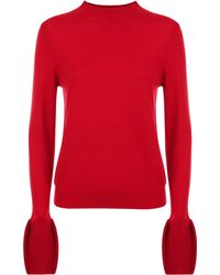 Jaeger - Wool Fluted Sleeve Sweater - Lyst