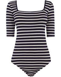 Oasis Stripe Square Neck Body - Blue