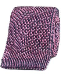 Gibson - Dark Blue And Strawberry Textured Knitted Tie - Lyst