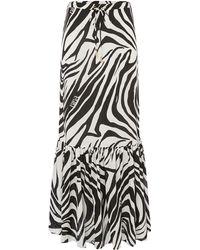 Biba - Zebra Print Ruffle Maxi Skirt - Lyst