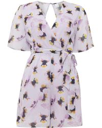 Lost Ink - Pansy Print Playsuit - Lyst