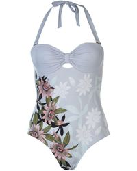 Ted Baker Ted Floral Halter-neck Swimsuit - Blue