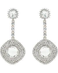 e6dfa743c0be7 Square Crystal Studded Drop Earring - Metallic