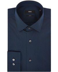 BOSS - Men's Slim Fit Spot Texture Shirt - Lyst