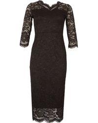 Feverfish - Lace Scallop V Neck Dress - Lyst