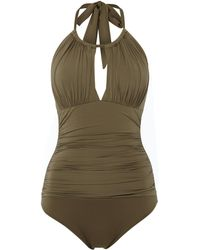 Kenneth Cole High Neck Tummy Toner Swimsuit - Green