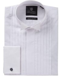 Skopes Long Sleeve Wing Collar Dress Shirt - White
