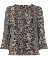 Biba Contour Cuff Shell Blouse - Multicolour