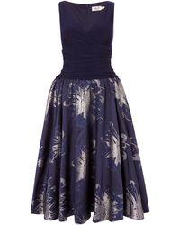 Eliza J V Neck Fit And Flare Dress - Blue