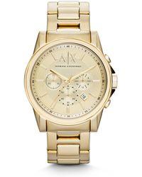Armani Exchange - Ax2099 Gold Mens Bracelet Watch - Lyst