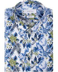 Limehaus - Men's White Hawaiian Print Forward Point Shirt - Lyst