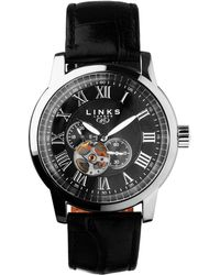 Links of London - Noble Roman Stainless Steel & Black Leather Autom - Lyst