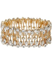 Mikey | Oval Crystal Wide Elastic Bracelet | Lyst