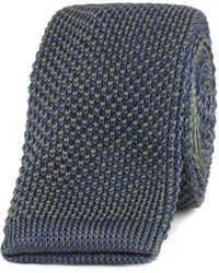 Gibson - Navy And Forest Green Textured Knitted Tie - Lyst