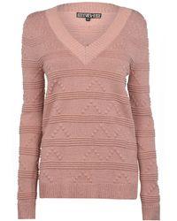 Biba V Neck Stitch Jumper - Pink