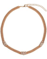 Mikey - Metal Chain Crystal Cylinder Necklace - Lyst