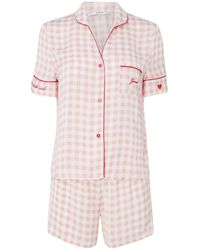 Guess Gingham Shirt Pyjama Set - Pink