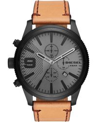 DIESEL - Men`s Rasp Chrono 50 Ip Leather Watch - Lyst