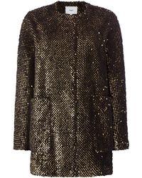 Suncoo - Elvie Long Sleeved Sequin Textured Dress Coat - Lyst