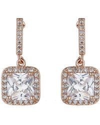 Mikey - London Square Cubic Edged Long Drop Earring - Lyst