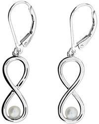 Azendi - Silver & Pearl Infinity Earrings - Lyst