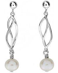 Azendi | Silver & Pearl Spirals Earrings | Lyst