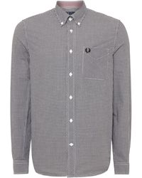Fred Perry Gingham Classic Fit Long Sleeve Shirt - Black