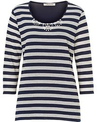 Betty Barclay Embellished Striped Top - Blue