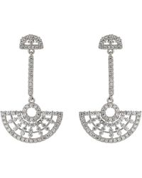 Mikey - Half Crescent Hanging Cubic Earring - Lyst
