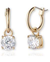 Anne Klein - Stone Drop Hoop Earrings - Lyst