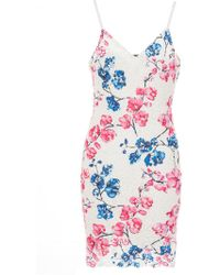 Quiz - Blue And Pink Floral Crochet Bodycon Dress - Lyst