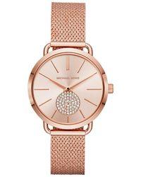 MICHAEL Michael Kors Ladies Portia Mesh Rose Watch - Pink