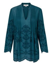 East - Embroidered Pintuck Top - Lyst
